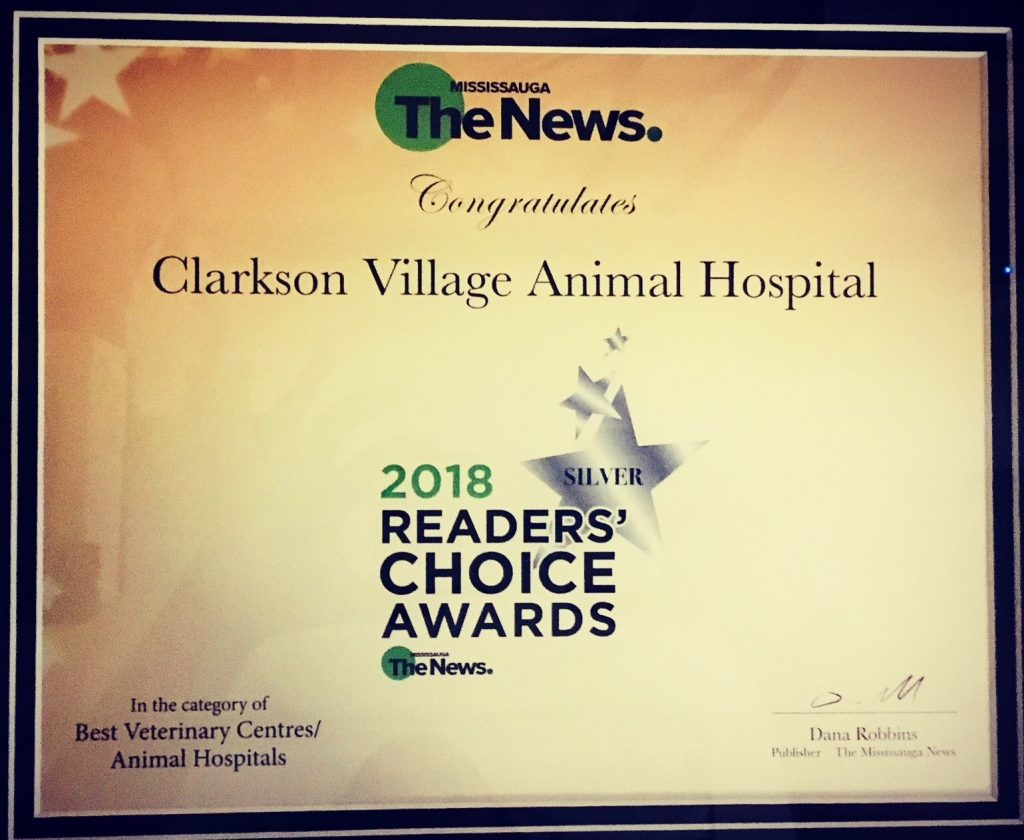 2018 readers choice awards certificate for Clarkson Village Animal Hospital